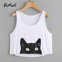ROMWE Cat Print Curved Back Crop Tank Top 2018 Spring White Scoop Neck Preppy Style Crop Top Women Summer Short Tank