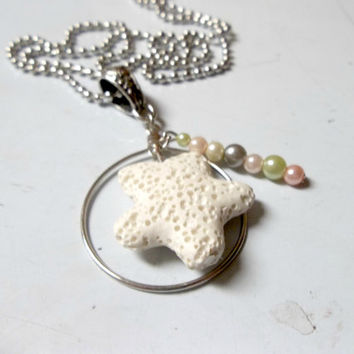 Starfish Lava Rock Essential Oil Diffuser Pendant Necklace For Aromatherapy Personal Diffuser Pendant