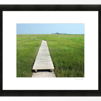 Walkway to the Spit, Scituate, Massachusetts, 8x10 print in 11x14 mat, signed
