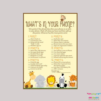 Safari Baby Shower What's in Your Phone Game - Printable Phone Raid Game - Safari What's in Your Phone Game - Safari Shower Game - BS0001-N