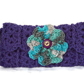 Purple Handmade Crochet Lined Pouch With Removable Flowers And Zipper Cell Phone Clutch Bag Lined Bags & Purses Womens Purse @MystifyGifts