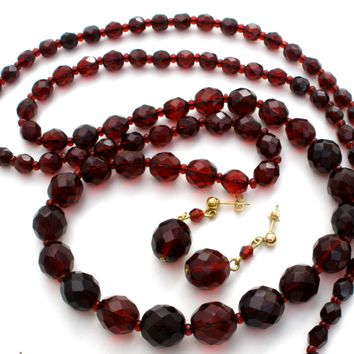 "Red Bead 36"" Necklace with Earrings Vintage"