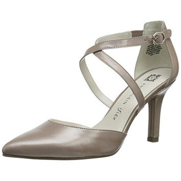 Anne Klein Womens Fion Leather Metallic Pumps