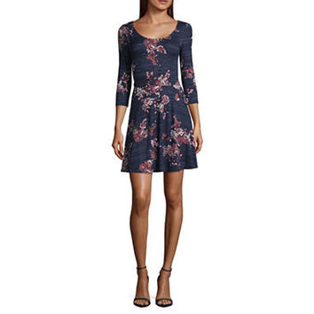 by&by 3/4 Sleeve Floral Fit & Flare Dress-Juniors - JCPenney