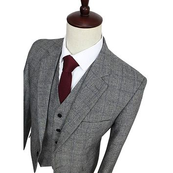 Free shipping Wool Grey blue Tweed Men Custom Made mens 3 piece suit tailor made slim fit suits for men Blazer(Jacket+Pants+Vest