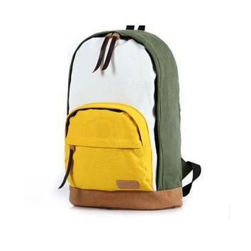Leisure Cute Contrast Color Canvas Backpack