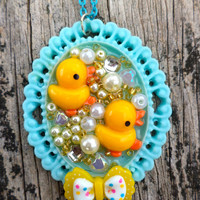 kawaii Duck Pendant. Rubber Ducky Pendant. Kawaii/Lolita Kei/Decoden/Fairy Kei Pendant. Little duckies pendants.