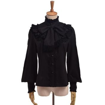 Women Blouses Elegant Vintage Victorian Royal Bow Stand Collar Long Sleeve Ruffles Lace Shirt Tops