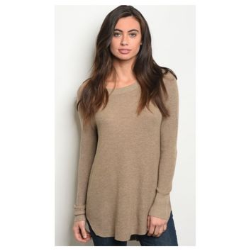 Cozy Comfy Scooped Neck Tan Knit Sweater
