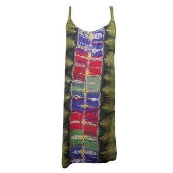 Mogul Womens Stonewashed Sleeveless Dress Green Tie Dye Mirror Work Summer Tank Dresses - Walmart.com