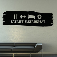 Vinyl Wall Decal Sticker Eat Sleep Life Repeat #5161