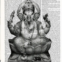 Book Print Ganesha Lord of Wisdom Upcycle Book Print Art Print Dictionary Print Collage Print
