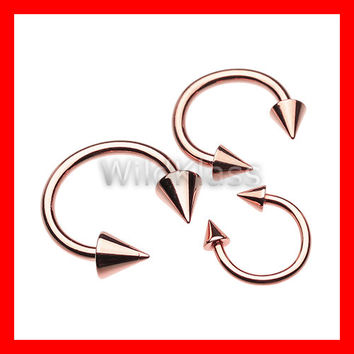 Rose Gold Horseshoe Spike Ring 16g Septum Horseshoe 14g Cartilage Earrings 18g Nipple Ring Circular Barbell Tragus Jewelry Helix Piercing