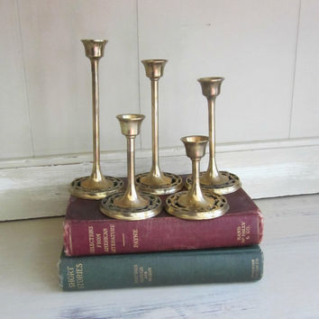 Brass Tulip Candlesticks Set of 5 with Decorative Bases , Gold Candlesticks in Descending Sizes , 5 Brass Candle Holders , Vintage Home