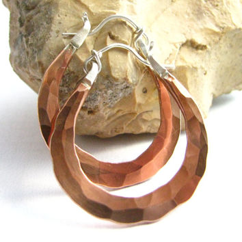 Small Copper Hoop Earrings - Forged Sterling Silver And Copper Mixed Metal Hoop Earrings - Traditional Metalsmith Jewelry