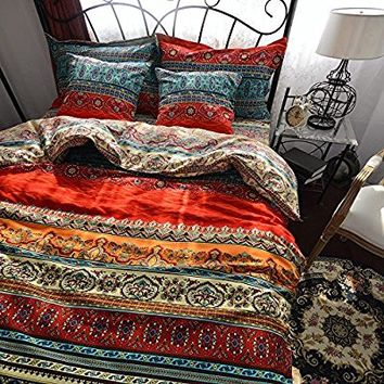 YOUSA Bohemia Retro Printing Bedding Ethnic Vintage Floral Duvet Cover Boho Bedding 100% Brushed Cotton Bedding Sets (Twin,01)