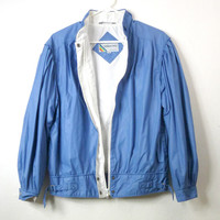 Vintage Blue Members Only Jacket / Womens Puff Sleeve Jacket M L