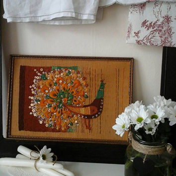 Vintage tapestry~vintage framed embroidery~vintage embroidered bird~vintage embroidery~folklore embroidery~textile art~vintage textile art~