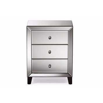 Hollywood Regency Glamour Style Mirrored 3-Drawers Nightstand Bedside Table By Baxton Studio