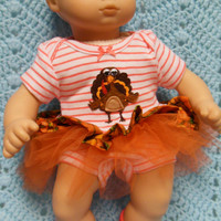 "AMERICAN GIRL Bitty Baby Clothes ""Gobble,Gobble"" (15 inch) Thanksgiving doll outfit top dress diaper cover booties/ socks and headband"