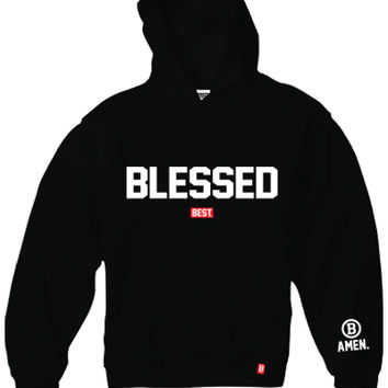 BREEZY EXCURSION ONLINE SHOP/STORE/SPENDING CENTER — AMEN X BEST : BLESSED HOODIE IN BLACK