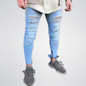 Hole Jogger Zipper Ripped Skinny Jeans