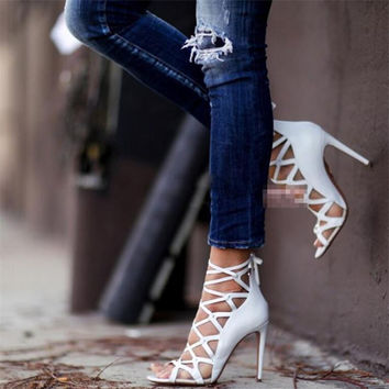 Rome Gladiator High Heels Sandals Women Sexy mesh Genova Stiletto Sandal Fashion Design Open Toe Lace Up Pumps Shoes Woman Boots