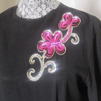 CLEARANCE-Vintage 1940's Flower Applique Cocktail Dress-SALE,  Was 140.00, Now 80.00