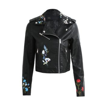 2017 Fall Fashion Embroidery Jaqueta Feminina Flower PU Faux Leather Coats And Jackets Women Zipper Basic Moto Jacket Outerwear