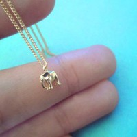 Tiniest Cute, Baby Elephant, 15inch, Gold Plated, Necklace