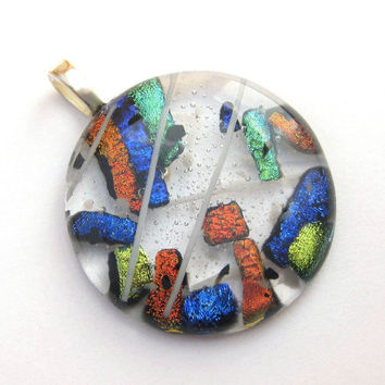Festival Dichroic Fused Glass Pendant Slide 2743 by mysassyglass