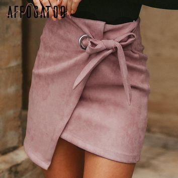 Affogatoo Asymmetrical sash knotted suede skirt women High waist sexy split winter skirt casual leather skirt female