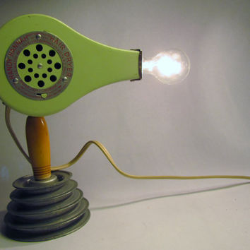Vintage mint green blow dryer light shabby mid century by clcort