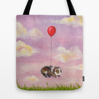 Balloon Ride - Guinea Pig With Balloon Tote Bag by When Guinea Pigs Fly