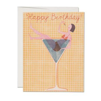 RED CAP CARDS COCKTAIL GIRL CARD