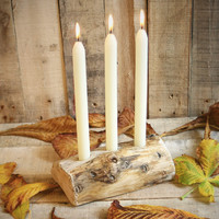 $24.77 Half Log Dinner Candle Holder  Table by UtopiaHomeAndGarden