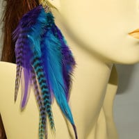 Feather Ear Cuff  Purple & Blue Vibrance   by EarthJewelAdornments