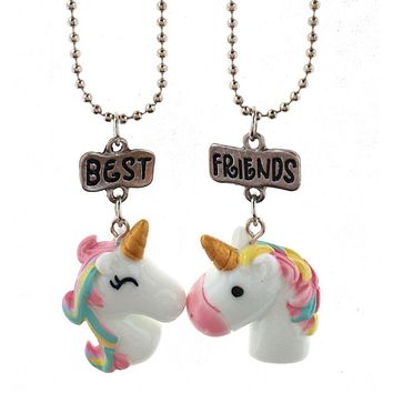 2Pcs/Set Unicorn Pendant Best Friends Letter BFF Gifts Chain Necklace Jewelry BFF Besties