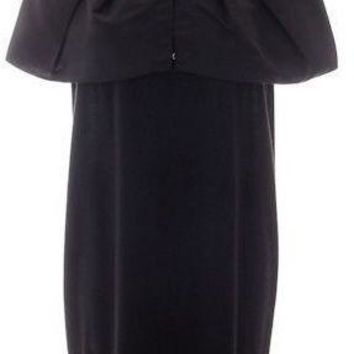 Lanvin Blue Balloon Sleeve Funnel Neck Wool Clubwear Dress A/W 2010 Size M