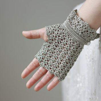 Bridesmaid gift, Wedding Bridal Lace Gloves, Sea Green, Handmade Fingerless, Wedding accessories,