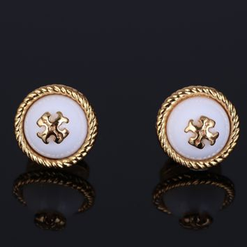 Tory Burch Fashion New Metal Weave Side Earring Accessories Women White