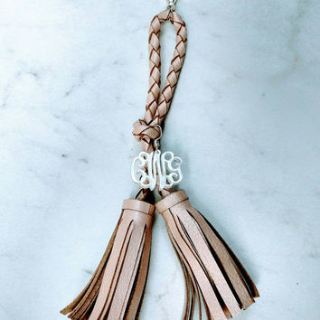 Authentic Blush Leather Double Tassel and Acrylic Monogram Keychain - Charm Candy Studio - Christmas Gift - Stocking Stuffers