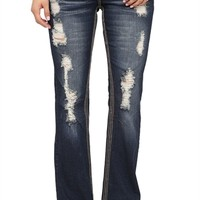 Ariya Curvy Fit Flare Jean with Heavy Pocket Embroidery