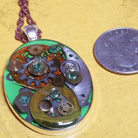 Green, Copper and Yellow Abstract Painted Steampunk Necklace, Green Watch Part Pendant