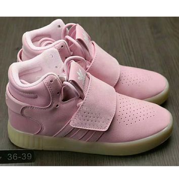 One-nice™ Adidas Originals Tubular Invader Strap Women Men Running Sport Casual Shoes Sneakers Pink I-HAOXIE-ADXJ