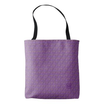 Monogram Purple Love Hearts Tote Bag