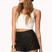 FOREVER 21 Sleek Studded Faux Leather Shorts Black/Gold X-Small