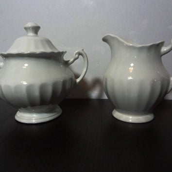 Vintage J & G Meakin Classic White Ironstone Creamer Pitcher and Sugar Bowl Set - Farmhouse or Cottage Style