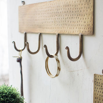 Four Hook Coat Rack Hammered Antique Brass Finish