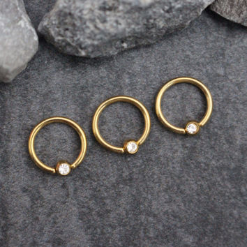 Crystal Captive Bead Ring in Gold